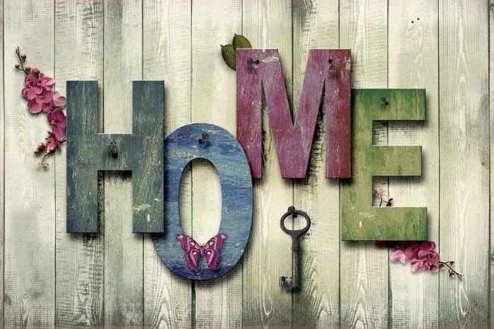 Domicile, À La Maison, Décoration, Bois, Toile, Art